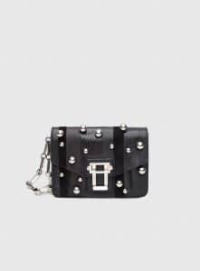 Proenza Schouler Black Exotic Stripe with Ball Detail Hava Clutch Bag