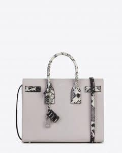 Saint Laurent Grey with White/Black Embossed Python Small Sac De Jour Bag