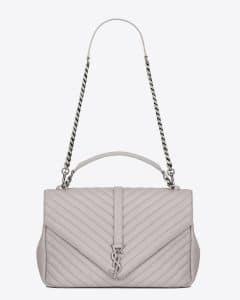 Saint Laurent Light Grey Matelasse Large Monogram College Bag