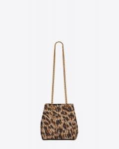 Saint Laurent Natural/Black Leopard Woven Polyester Baby Emmanuelle Chain Bag