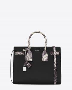 Saint Laurent Black with White/Black Embossed Python Small Sac De Jour Bag
