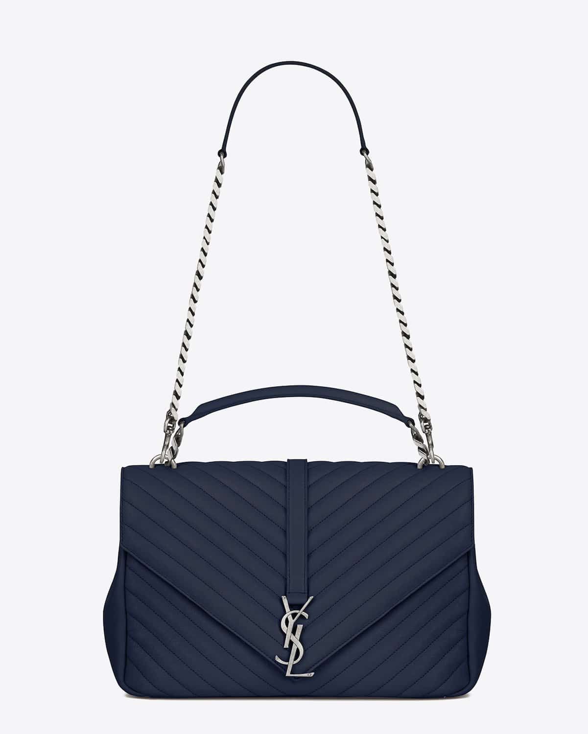 Monogram Saint Laurent Blogger Bag In Sky Blue Leather