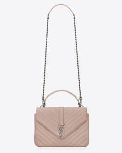 Saint Laurent Powder Pink Matelasse Medium Monogram College Bag