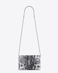 Saint Laurent White/Black Python Embossed Monogram Chain Wallet Bag
