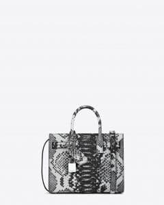 Saint Laurent White/Black Python Embossed Nano Sac De Jour Bag