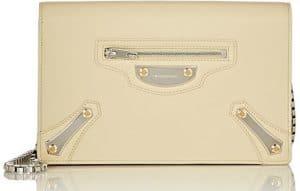 Balenciaga Beige Argile Metal Plate City Chain Wallet Bag