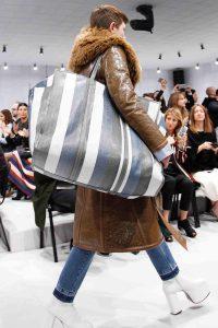 Balenciaga Black/White/Blue Striped Oversized Tote Bag - Fall 2016