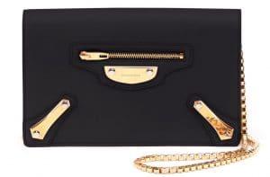 Balenciaga Noir Metal Plate City Chain Wallet Bag 2