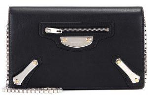 Balenciaga Noir Metal Plate City Chain Wallet Bag