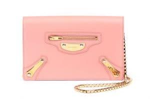 Balenciaga Rose Petale Metal Plate City Chain Wallet Bag 2