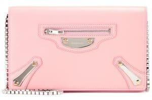 Balenciaga Rose Petale Metal Plate City Chain Wallet Bag