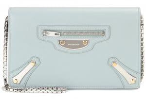 Balenciaga Vert Tilleul Metal Plate City Chain Wallet Bag