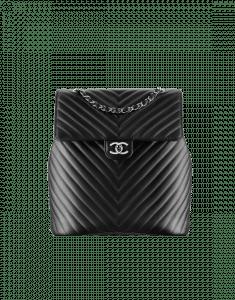 Chanel Black Chevron Urban Spirit Backpack Bag