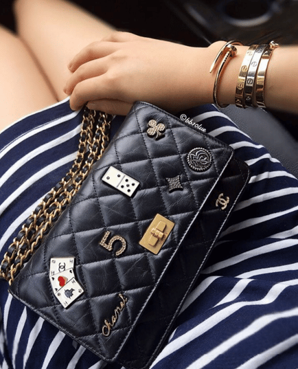 156a5d486b52 Chanel Black Lucky Charms Casino 2.55 Reissue Wallet On Chain Bag 2. IG:  bb10lue