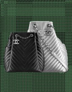 Chanel Black and Silver Urban Spirit Drawstring Bags