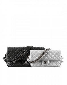 Chanel Black and Silver with Chain Detail Flap Bags