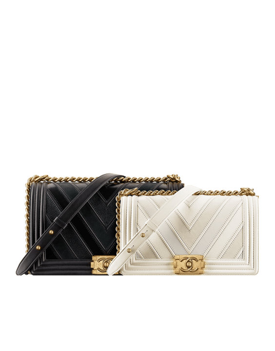 5e2ac2d7f8 Chanel Black and White Calfskin/Suede Chevron Boy Chanel New and Old Medium  Flap Bags