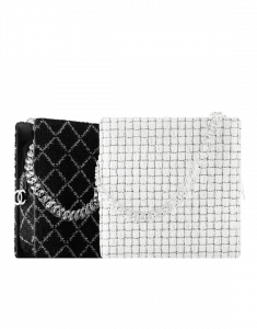 Chanel Black and White Tweed/Resin Small Zipped Shopping Bags