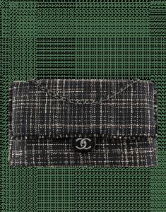 Chanel Black/Beige Tweed/Calfskin XXL Classic Flap Bag