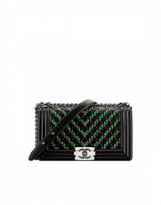 Chanel Black/Green/Red Lambskin and Diamond Embroideries Boy Chanel Flap Old Medium Bag