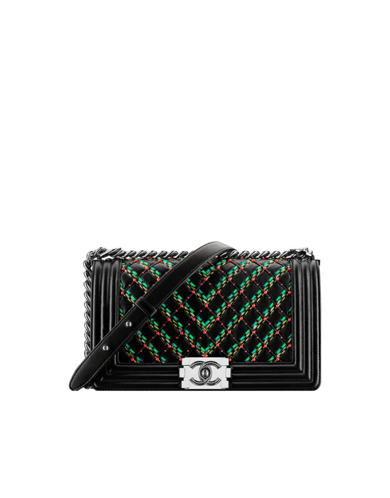 63c2266146df Chanel Black Green Red Lambskin and Diamond Embroideries Boy Chanel Flap  Old Medium Bag
