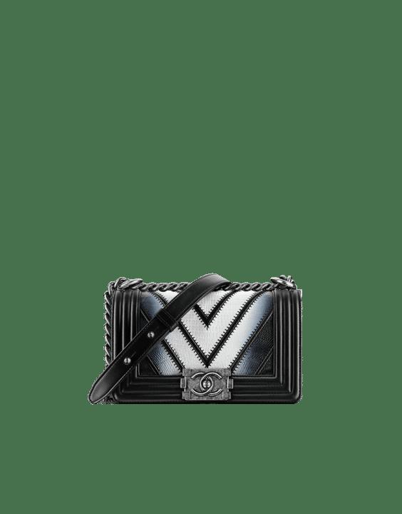9663b56216e1 Chanel Black/White Chevron Lizard Boy Chanel Exotic Small Flap Bag