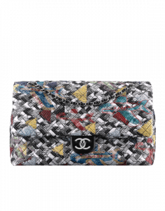 Chanel Black/White/Blue/Yellow Tweed and Strass XXL Classic Flap Bag