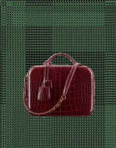 Chanel Burgundy Alligator Vanity Case Bag
