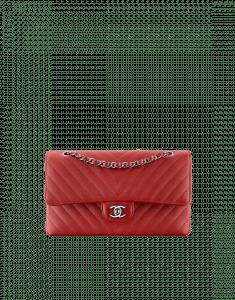 Chanel Dark Red Chevron Classic Flap Medium Bag