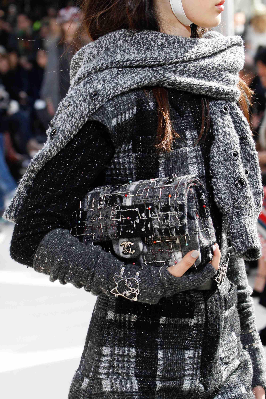 68f29027598a Chanel Grey Tweed Embellished Flap Bag - Fall 2016