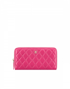 Chanel Lambskin Quilted Zipped Wallet