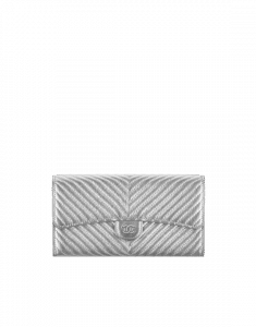 Chanel Metallic Chevron Flap Wallet