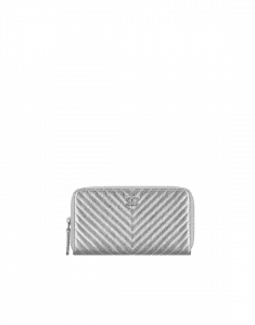 Chanel Metallic Chevron Small Zipped Wallet