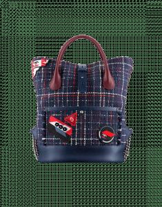 Chanel Navy Blue/Burgundy Tweed Trip Backpack Bag