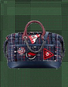 Chanel Navy Blue/Burgundy Tweed Trip Bowling Bag