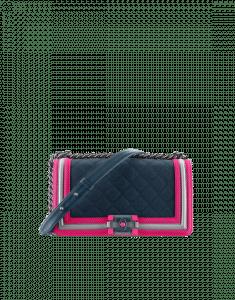Chanel Navy Blue/Fuchsia/Gray Boy Chanel Fluo Old Medium Flap Bag