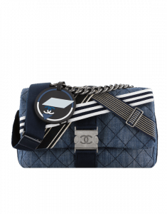 Chanel Navy Blue/White Denim and Toile Flap Bag