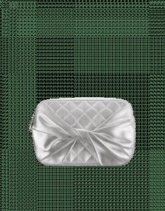 Chanel Silver Draped Metallic Lambskin Clutch Bag
