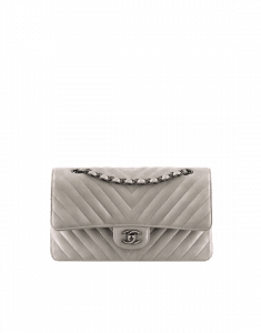Chanel Silver Metallic Classic Flap Medium Bag