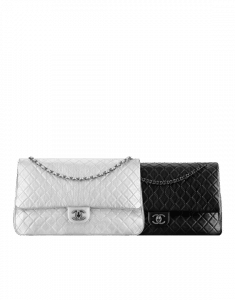 Chanel Silver and Black XXL Classic Flap Bags