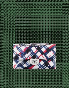 Chanel White/Blue/Black Printed Lambskin Classic Flap Medium Bag