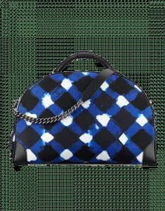 Chanel White/Blue/Black Printed Toile Bowling Bag