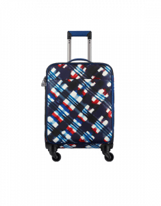 Chanel White/Navy Blue/Red Printed Toile and Grained Calfskin Coco Case Trolley Bag