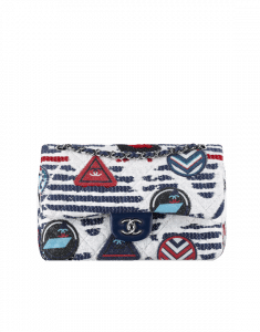 Chanel White/Navy Blue/Red Tweed and Crests Classic Flap Jumbo Bag