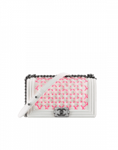 Chanel White/Pink Lambskin and Flower Embroideries Boy Chanel Flap Old Medium Bag