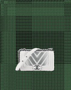 Chanel White/Silver Chevron Lizard Boy Chanel Exotic Small Flap Bag