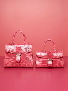 Delvaux Rose Candy Alligator Brillant MM and Brillant East:West Mini Bags