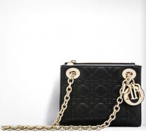Dior Black Lady Dior with Double Chain Mini Bag