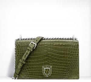 Dior Olive Green Crocodile Diorama Flap Bag