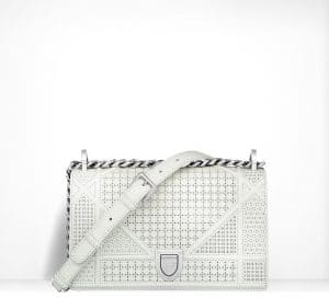 Dior White Perforated Patent Diorama Flap Small Bag